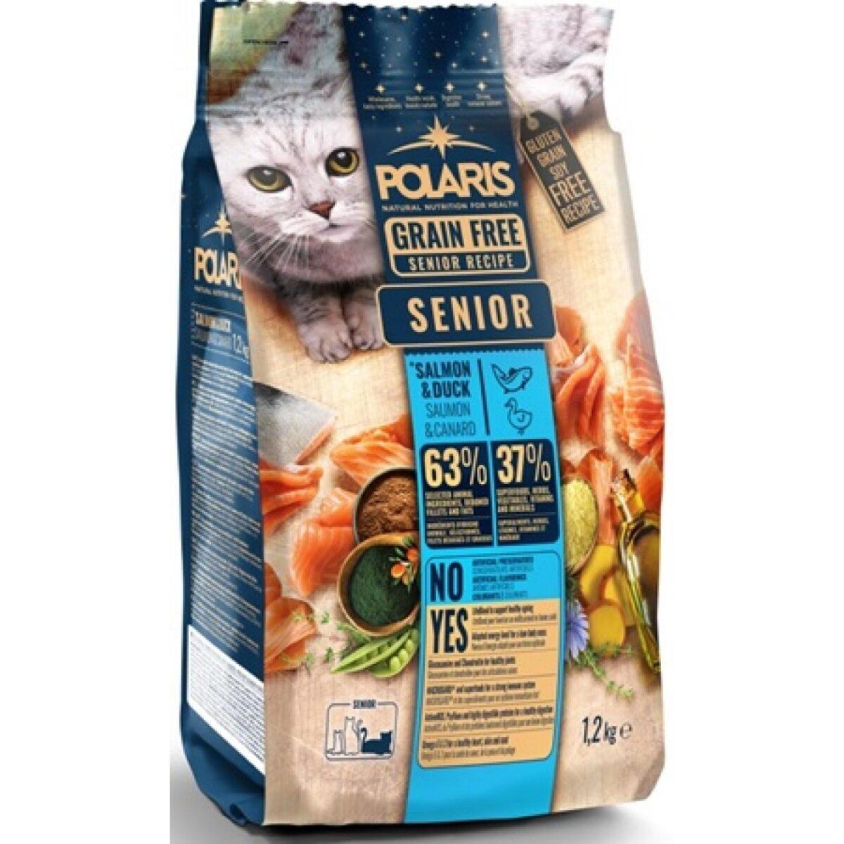Polaris teraviljavaba täissööt pardiliha ja lõhega 7+ eakatele kassidele 1,2kg