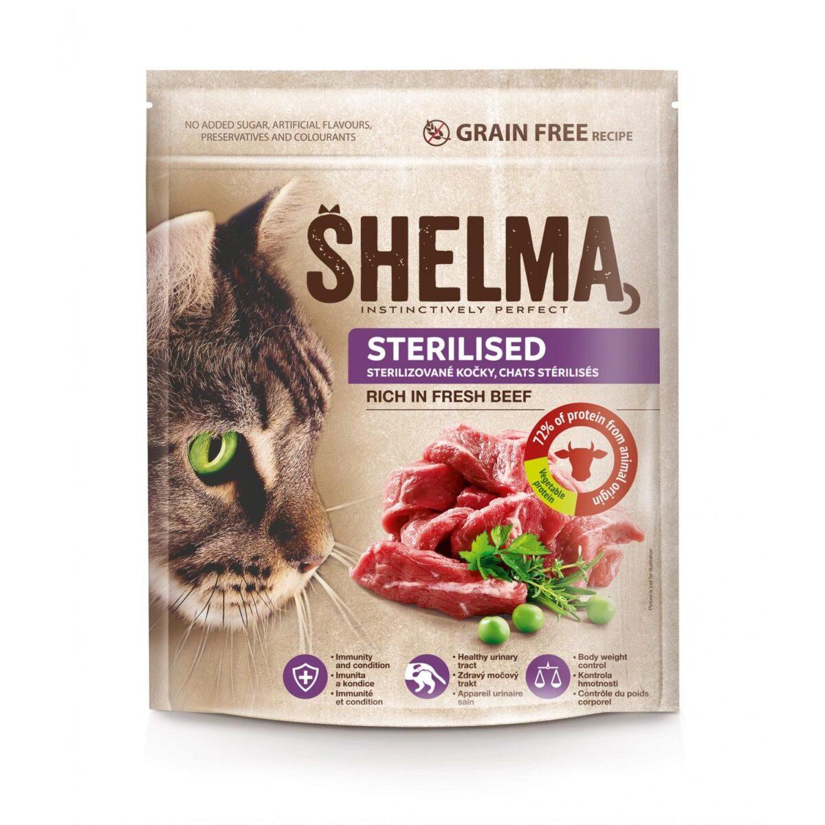 Šhelma teraviljavaba täissööt värske loomalihaga steriliseeritud kassidele 750g
