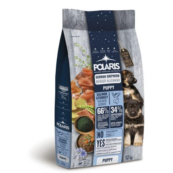 Polaris teraviljavaba täissööt lõhe ja kalkunilihaga saksa lambakoera kutsikatele 2,5kg