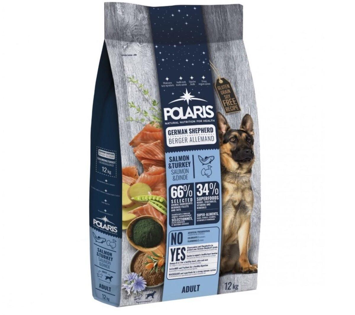 Polaris teraviljavaba täissööt lõhe ja kalkunilihaga saksa lambakoertele 2,5kg