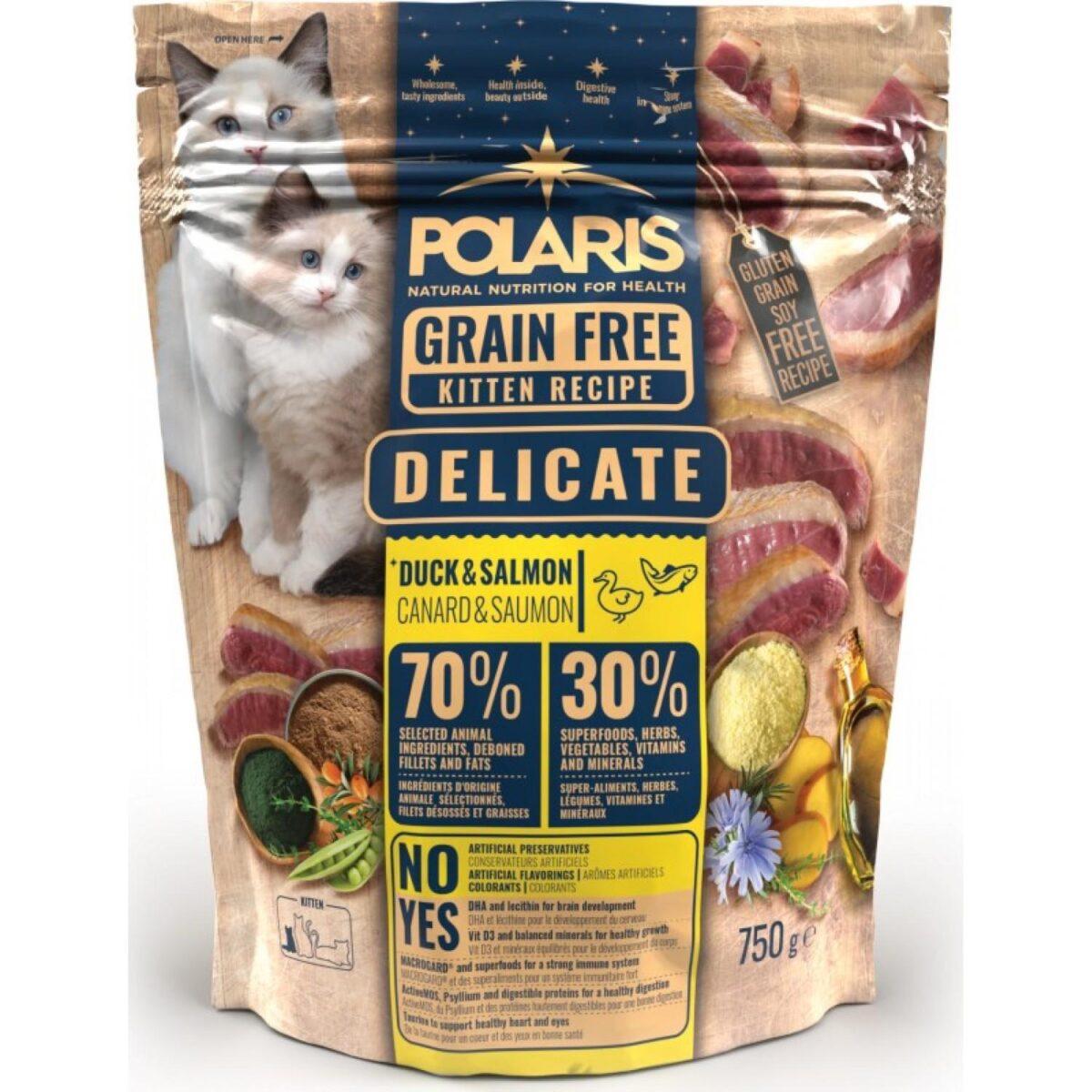 Polaris teraviljavaba täissööt pardiliha ja lõhega kassipoegadele 750g