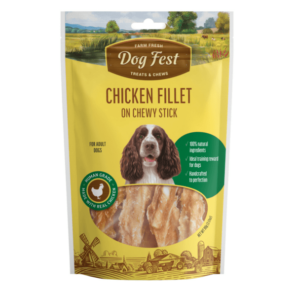 Dog fest chicken fillet on chewy stick