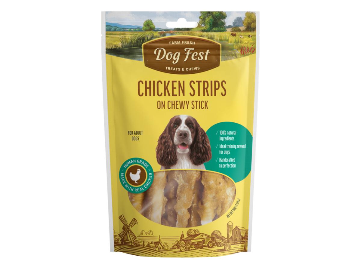 Dog fest chicken strips on chewy sticks