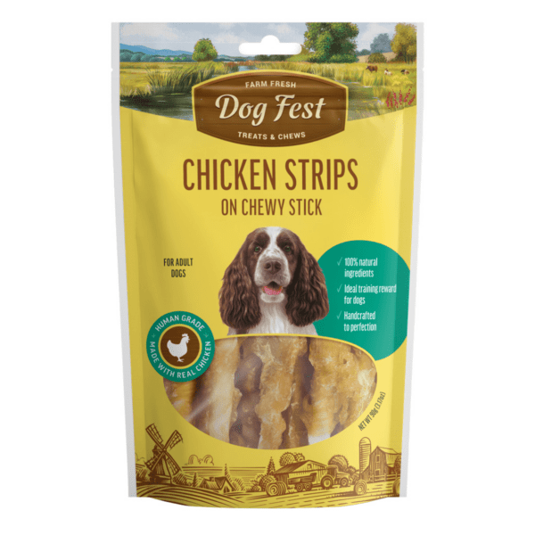 Dog fest chicken strips on chewy sticks